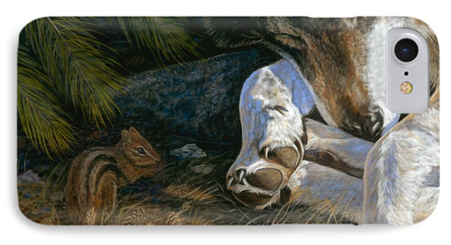 Wolf IPhone 7 Case featuring the painting Risky Business by Sheri Gordon