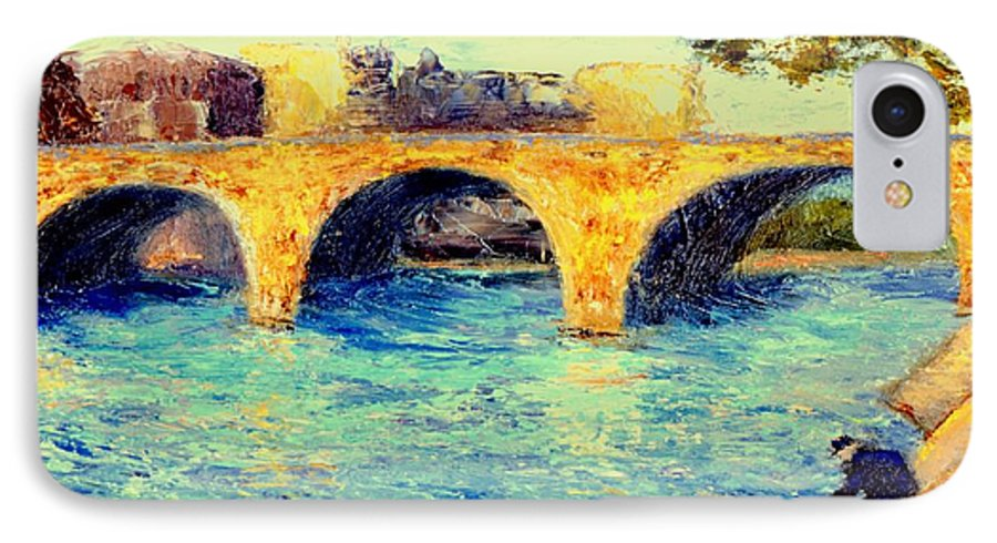 Impressionism IPhone 7 Case featuring the painting River Seine Bridge by Gail Kirtz