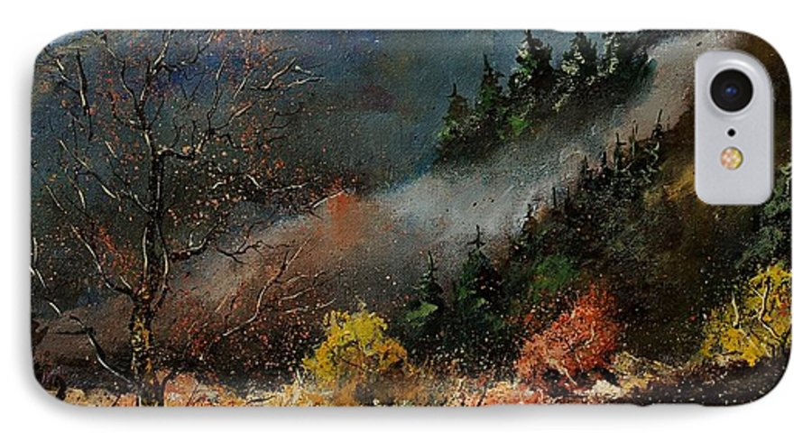 River IPhone 7 Case featuring the painting River Semois by Pol Ledent