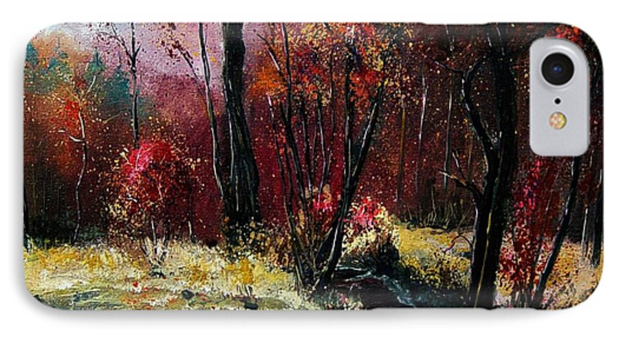 River IPhone 7 Case featuring the painting River Ywoigne by Pol Ledent