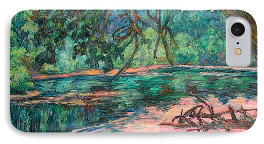 Riverview Park IPhone 7 Case featuring the painting Riverview At Dusk by Kendall Kessler