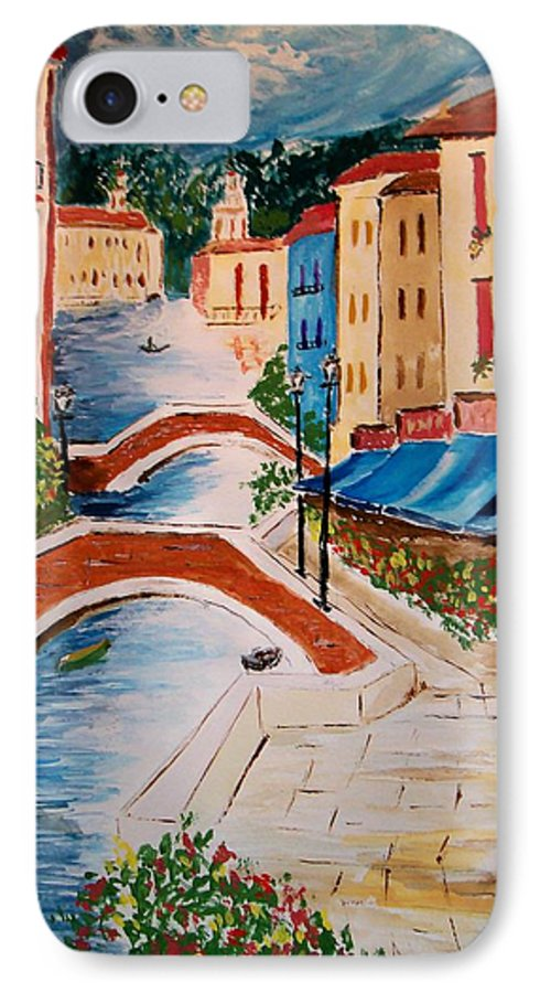Canal IPhone 7 Case featuring the painting Riverwalk by Leo Gordon