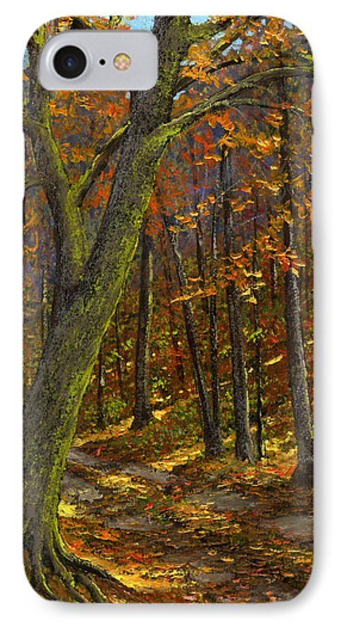 Landscape IPhone 7 Case featuring the painting Road In The Woods by Frank Wilson