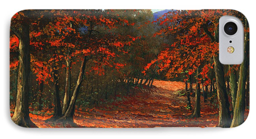 Landscape IPhone 7 Case featuring the painting Road To The Clearing by Frank Wilson