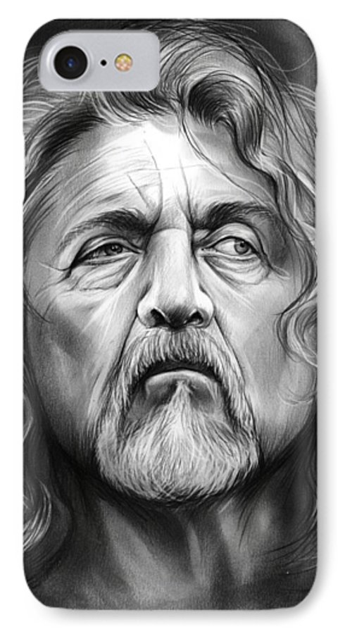 Robert Plant IPhone 7 Case featuring the drawing Robert Plant by Greg Joens