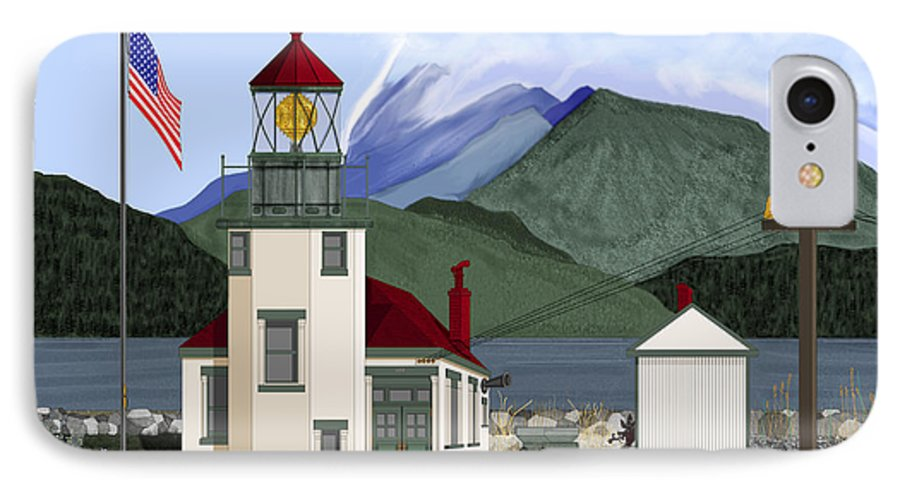Point Robinson Lighthouse IPhone 7 Case featuring the painting Robinson Point With Mount Rainier by Anne Norskog