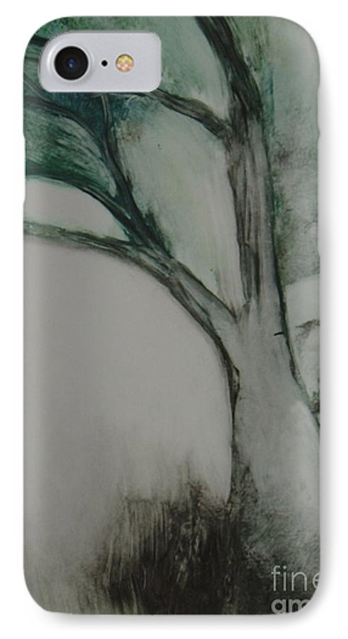 Monoprint Tree Rock Trees IPhone 7 Case featuring the painting Rock Tree by Leila Atkinson