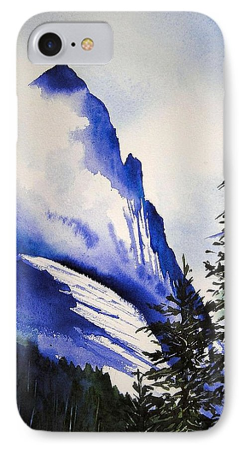 Rocky Mountains IPhone 7 Case featuring the painting Rocky Mountain High by Karen Stark