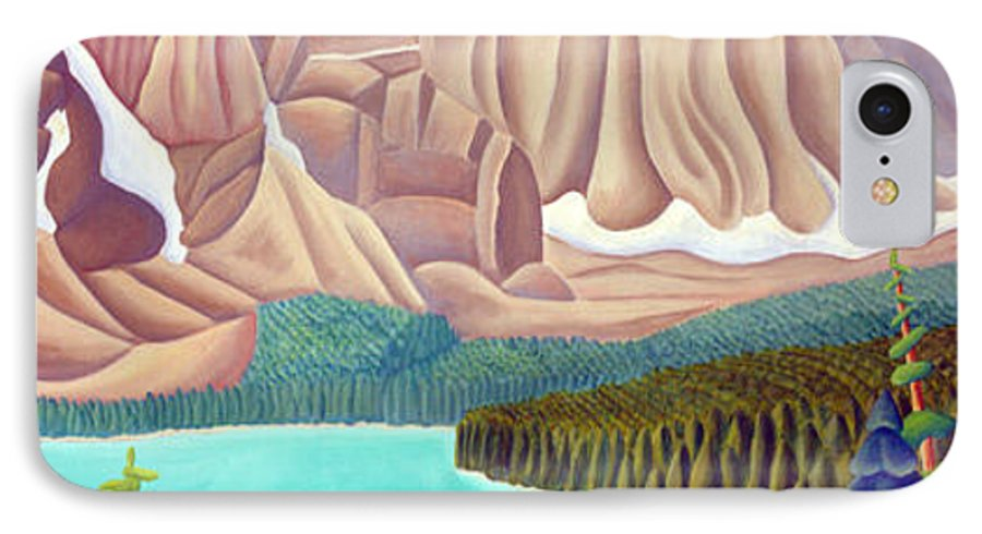 Landscape IPhone 7 Case featuring the painting Rocky Mountain View 3 by Lynn Soehner