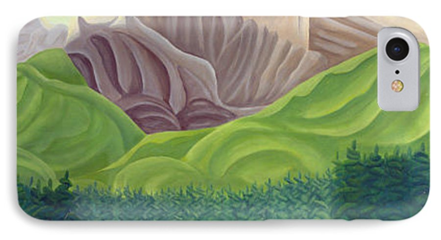 Landscape IPhone 7 Case featuring the painting Rocky Mountain View 4 by Lynn Soehner