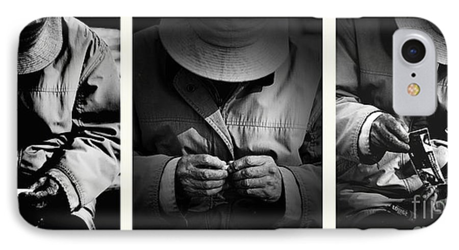 Rollup Rolling Cigarette Smoker Smoking Man Hat Monochrome IPhone 7 Case featuring the photograph Rolling His Own by Sheila Smart Fine Art Photography