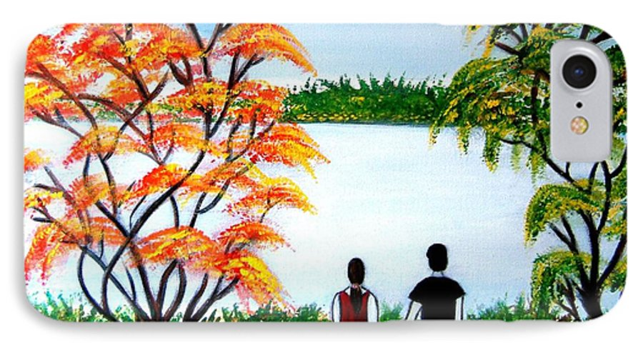Romance Figures Autumn Orange Trees Green Pop Water Lake Love Valentine Yellow Lake Spring Bloom IPhone 7 Case featuring the painting Romance In Autumn by Manjiri Kanvinde