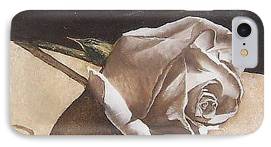 Rose Light Flower Floral IPhone 7 Case featuring the painting Rose 1 by Natalia Tejera