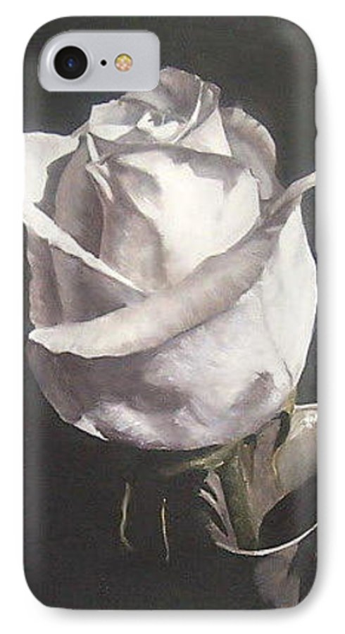 Rose Floral Nature White Flower IPhone 7 Case featuring the painting Rose 2 by Natalia Tejera
