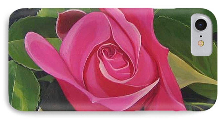 Pink Rose IPhone 7 Case featuring the painting Rose Arcana by Hunter Jay