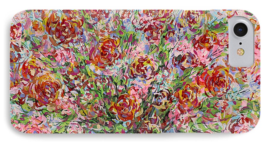 Flowers IPhone 7 Case featuring the painting Rose Bouquet In Glass Vase by Leonard Holland