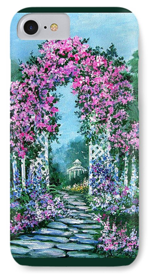 Roses;floral;garden;picket Fence;arch;trellis;garden Walk;flower Garden; IPhone 7 Case featuring the painting Rose-covered Trellis by Lois Mountz