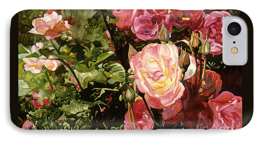 Watercolor IPhone 7 Case featuring the painting Rose Garden by Teri Starkweather
