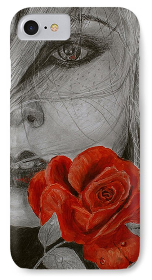 Woman IPhone 7 Case featuring the painting Rose Kisses by Quwatha Valentine