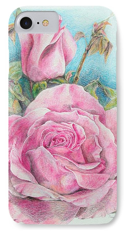 Flower IPhone 7 Case featuring the painting Rose by Muriel Dolemieux