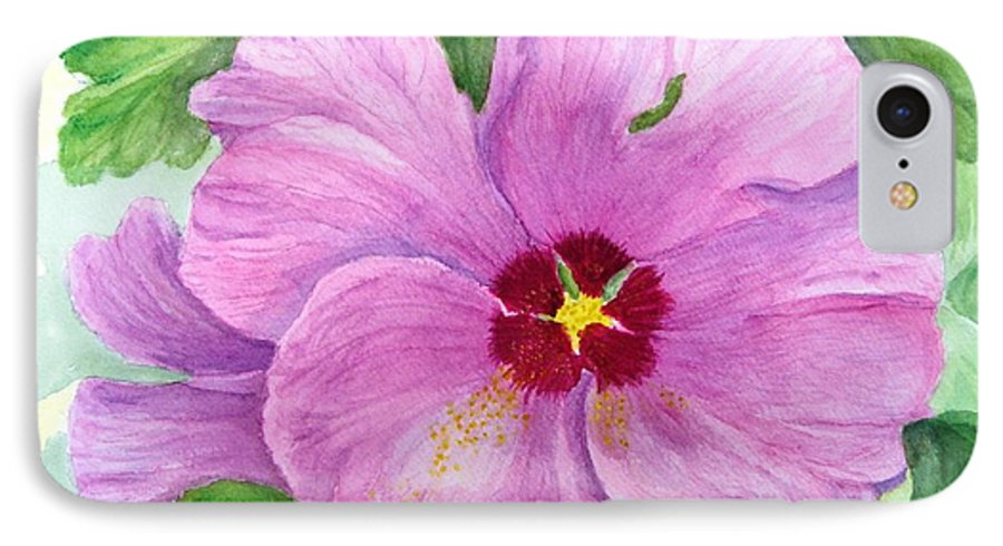 Watercolour IPhone 7 Case featuring the painting Rose Of Sharon by Peggy King