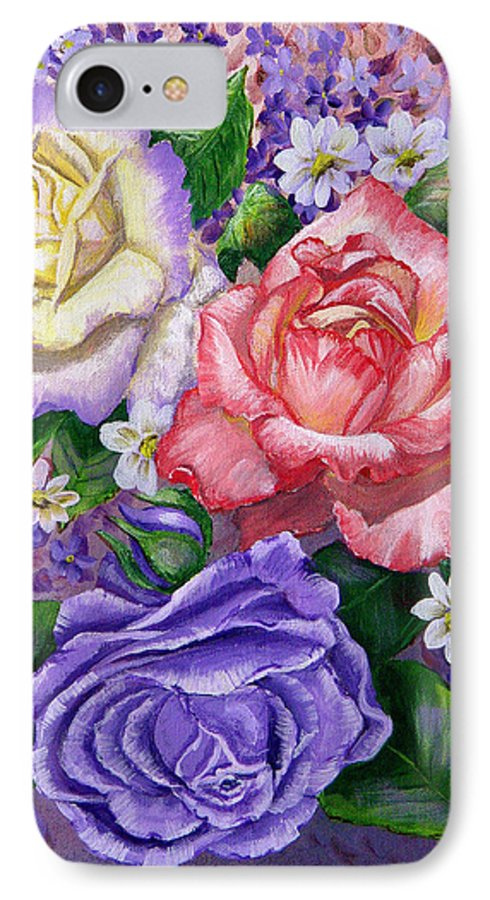Rose IPhone 7 Case featuring the painting Roses by Quwatha Valentine
