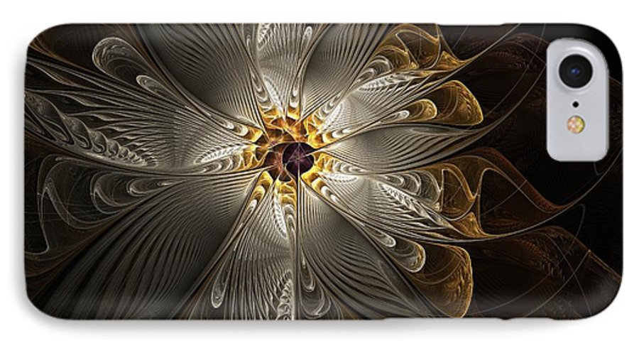 Digital Art IPhone 7 Case featuring the digital art Rosette In Gold And Silver by Amanda Moore