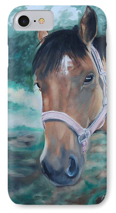 Horse IPhone 7 Case featuring the painting Rosie by Margaret Fortunato