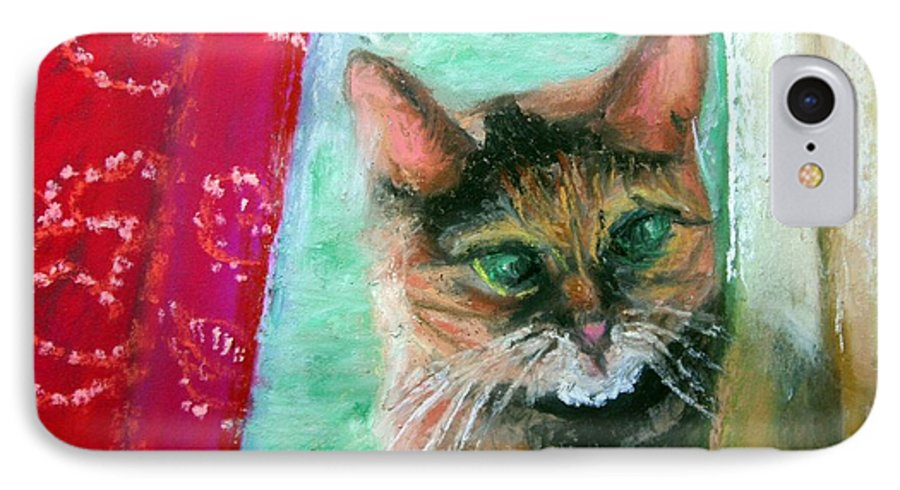Cat IPhone 7 Case featuring the painting Rosy In Color by Minaz Jantz