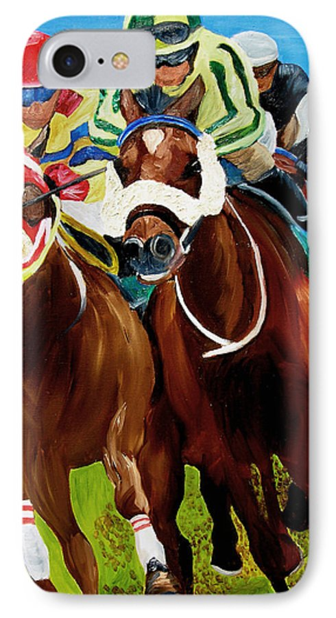 Horse Racing IPhone 7 Case featuring the painting Rounding The Bend by Michael Lee