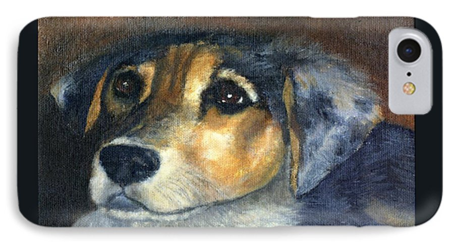 Dog IPhone 7 Case featuring the painting Roxie by Gail Kirtz