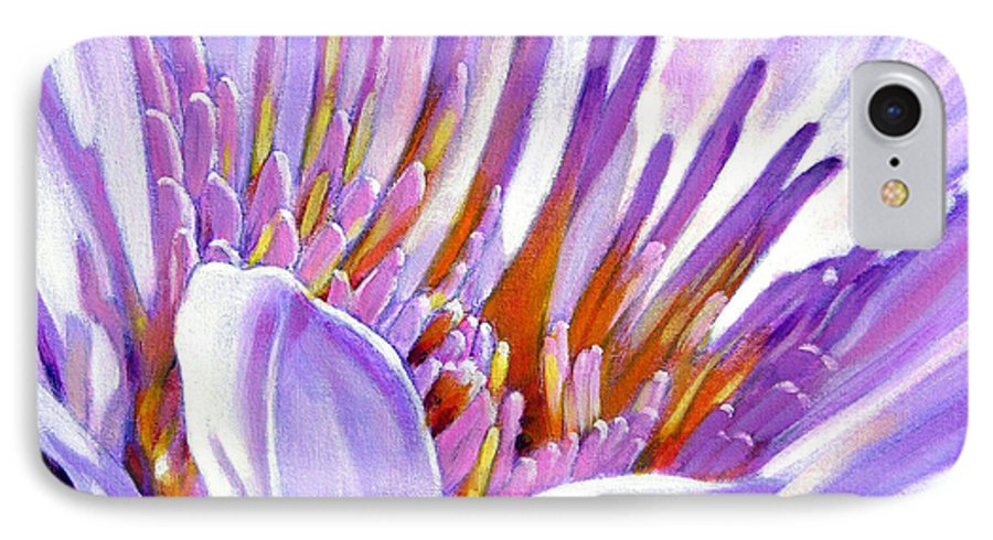 Water Lily IPhone 7 Case featuring the painting Royal Purple And Gold by John Lautermilch