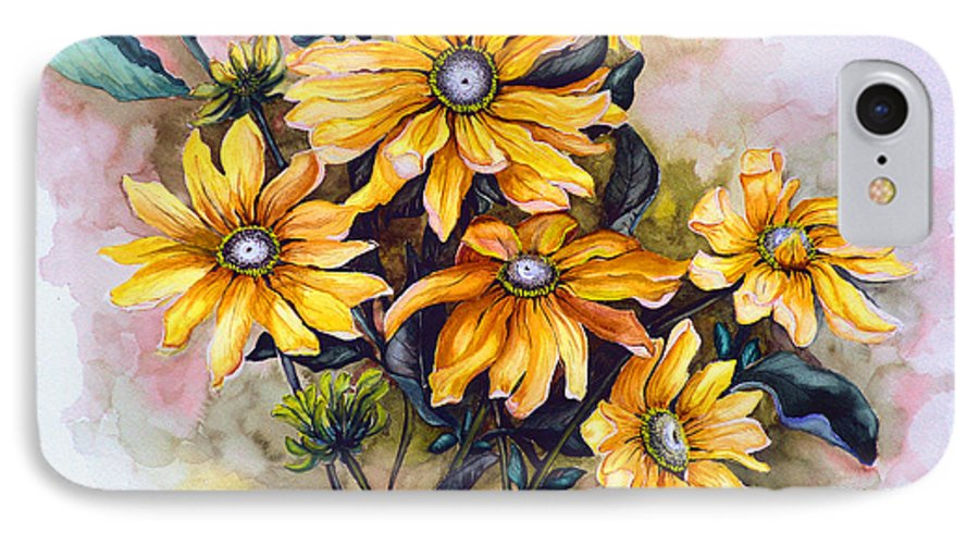 Flower Painting Sun Flower Painting Flower Botanical Painting  Original Watercolor Painting Rudebeckia Painting Floral Painting Yellow Painting Greeting Card Painting IPhone 7 Case featuring the painting Rudbeckia Prairie Sun by Karin Dawn Kelshall- Best