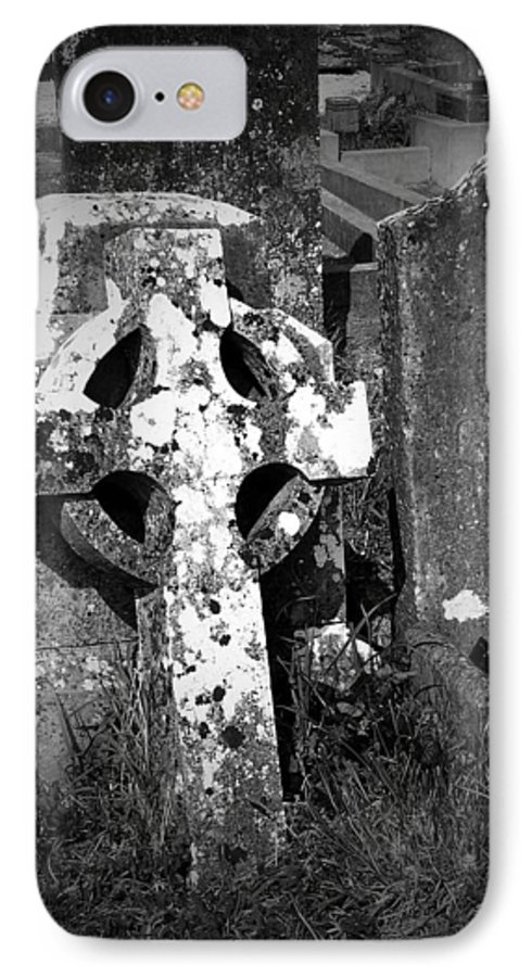 Celtic IPhone 7 Case featuring the photograph Rugged Cross At Fuerty Cemetery Roscommon Ireland by Teresa Mucha