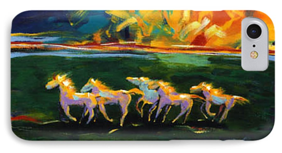 Abstract Horse IPhone 7 Case featuring the painting Run From The Sun by Lance Headlee