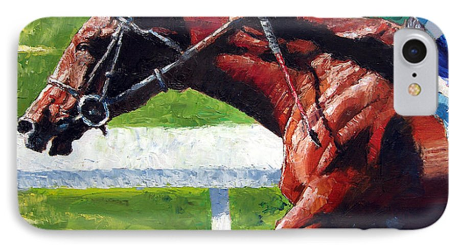 Horse Race IPhone 7 Case featuring the painting Running Towards The Light by John Lautermilch