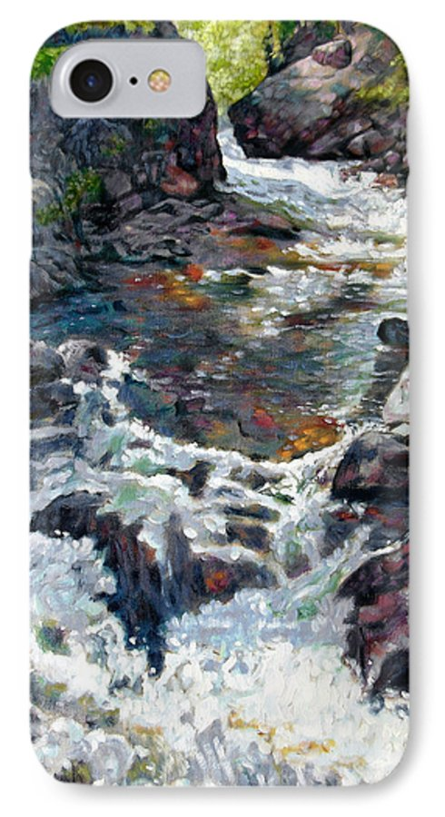 A Fast Moving Stream In Colorado Rocky Mountains IPhone 7 Case featuring the painting Rushing Waters by John Lautermilch