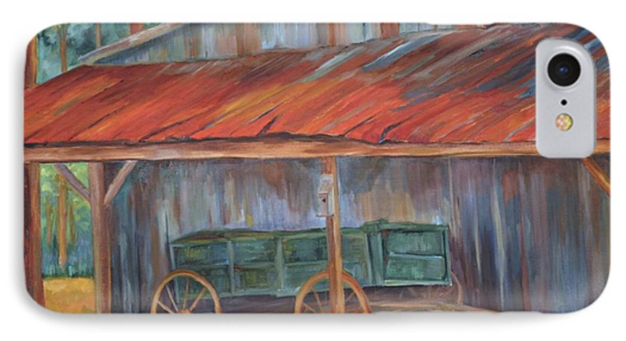 Old Wagons IPhone 7 Case featuring the painting Rustification by Ginger Concepcion