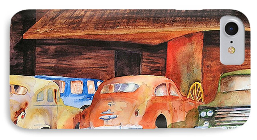 Car IPhone 7 Case featuring the painting Rusting by Karen Stark