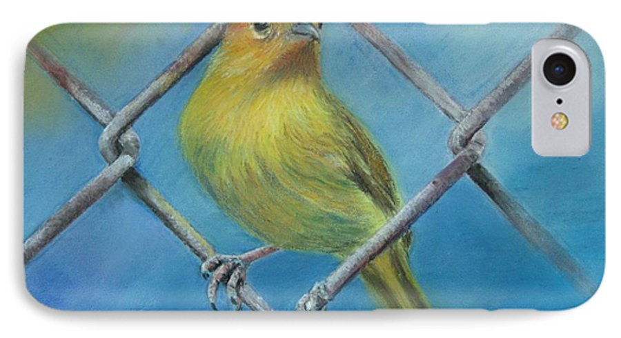 Bird IPhone 7 Case featuring the painting Safron Finch by Ceci Watson