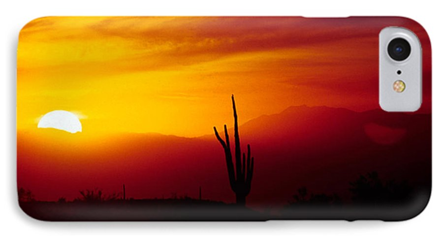 Arizona IPhone 7 Case featuring the photograph Saguaro Sunset by Randy Oberg