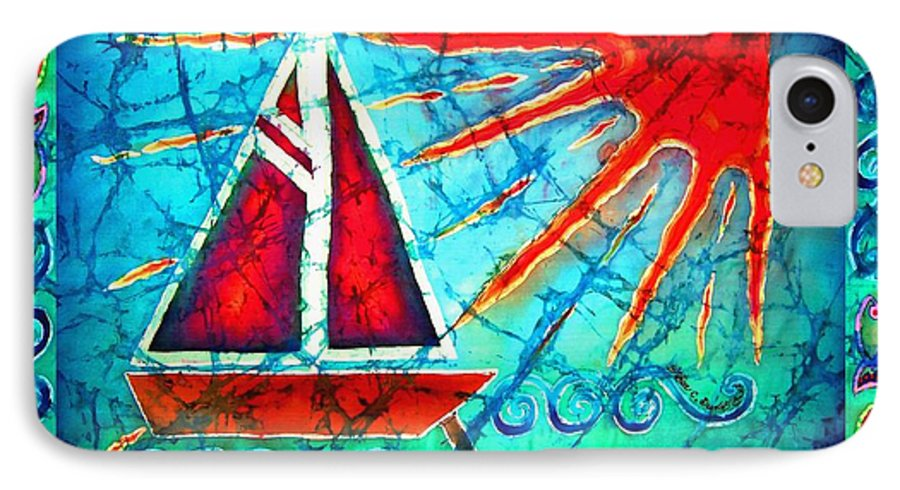Sailboat IPhone 7 Case featuring the painting Sailboat In The Sun by Sue Duda