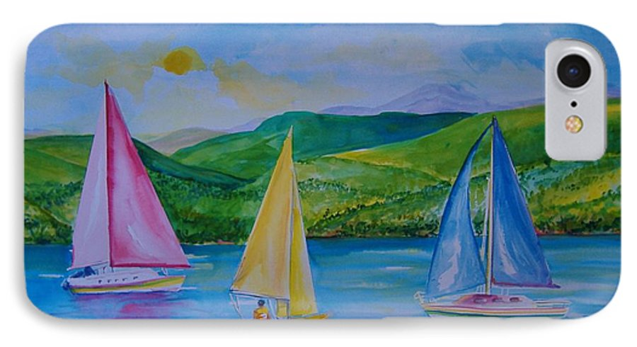 Sailboats IPhone 7 Case featuring the painting Sailboats by Laura Rispoli