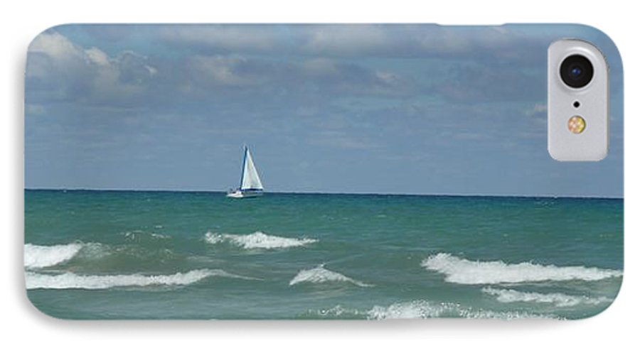 Scenery IPhone 7 Case featuring the photograph Sailing Away On The Lake by Barb Montanye Meseroll