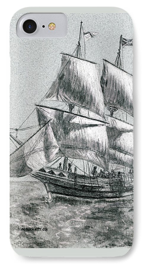 Seascape IPhone 7 Case featuring the drawing Sailing by Michael Beckett