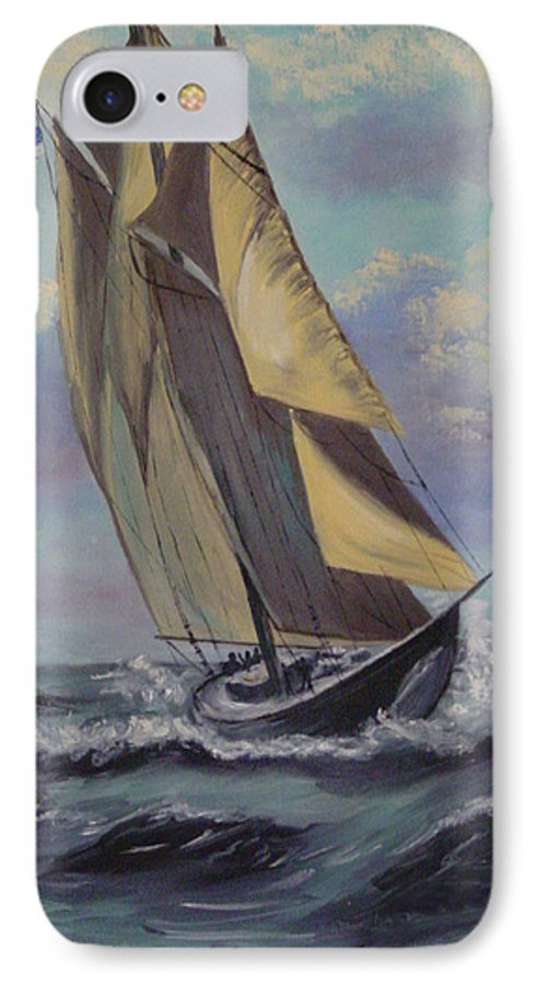 Ocean IPhone 7 Case featuring the painting Sailing by Quwatha Valentine