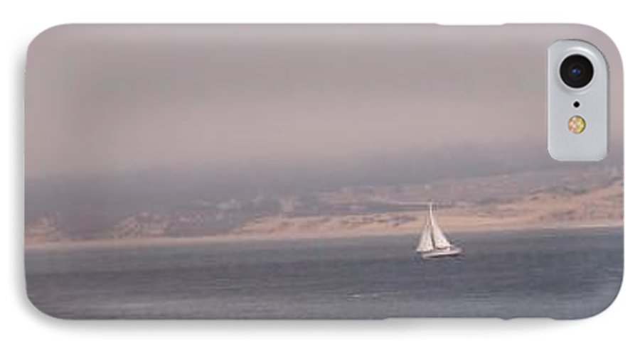Sailing Sail Sailboat Boating Boat Ocean Pacific Bay Sea Seascape Nature Outdoors Marine Beach IPhone 7 Case featuring the photograph Sailing Solo by Pharris Art