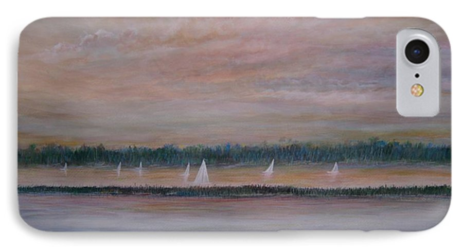 Sailboats; Marsh; Sunset IPhone 7 Case featuring the painting Sails In The Sunset by Ben Kiger
