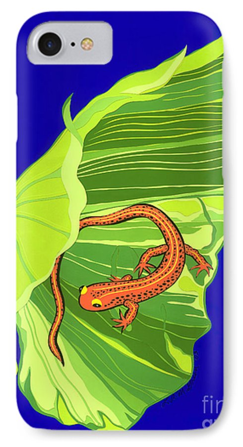 Nature IPhone 7 Case featuring the drawing Salamander by Lucyna A M Green