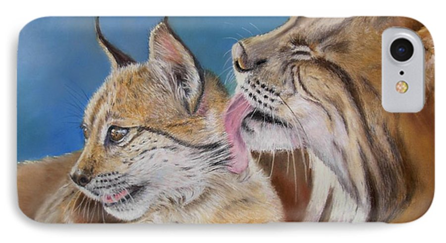 Iberian Lynx IPhone 7 Case featuring the painting Saliega Y Brezo by Ceci Watson